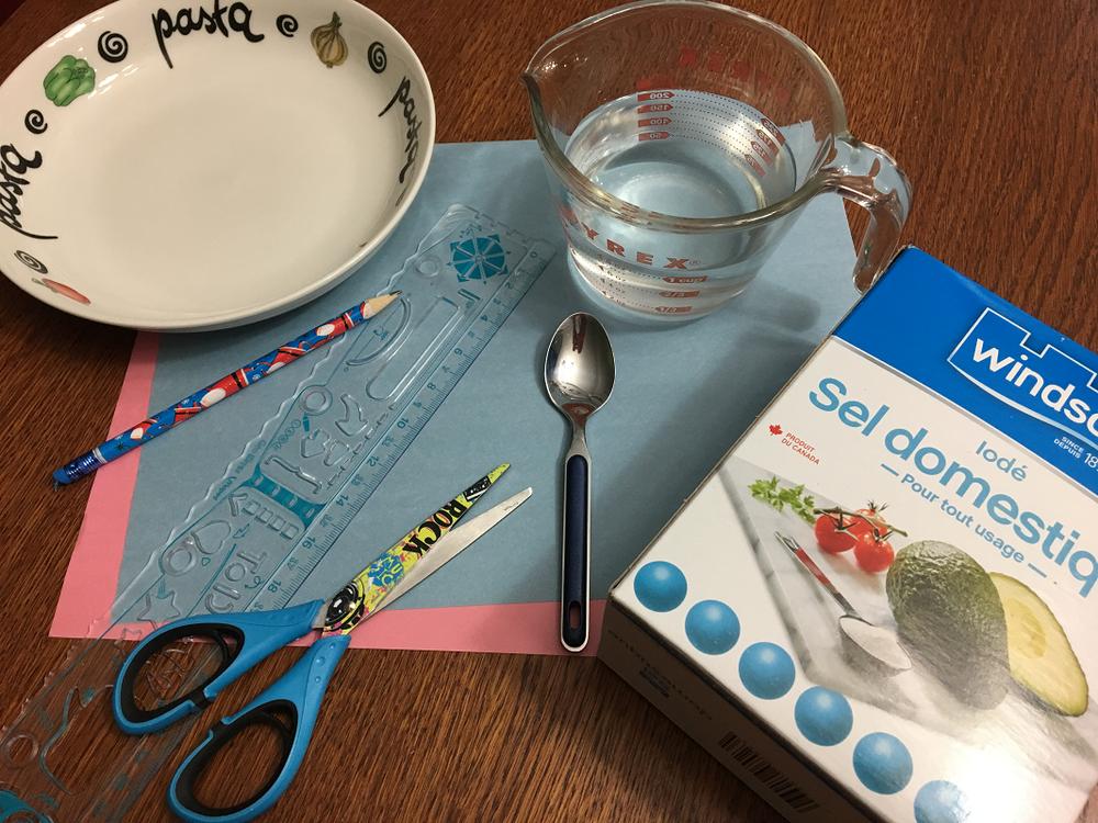 matériel requis pour l'expérience de flocons de sel