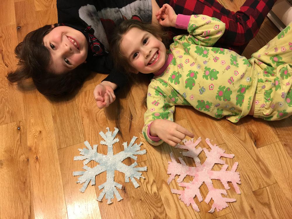 enfants heureux de l'expérience, du résultat, beaux flocons de sel cristallisé