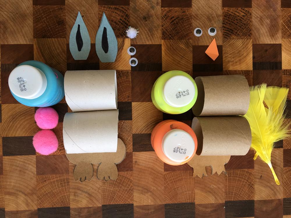 lapin et poussin de Pâques, rouleaux de papier de toilette, personnage, brico, maman Bricole
