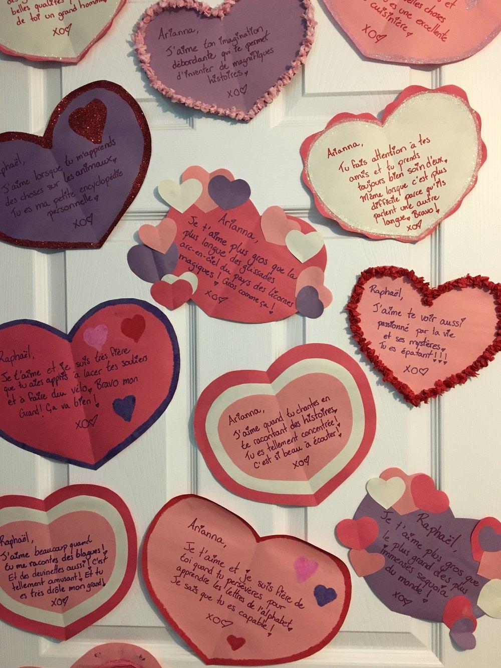 décompte St-Valentin-Coeurs-Un message par jour-Mots d'amour-Saint Valentin-Coller sur la porte un coeur par jour-MamanBricole-#MamanBricole-Je suis une maman