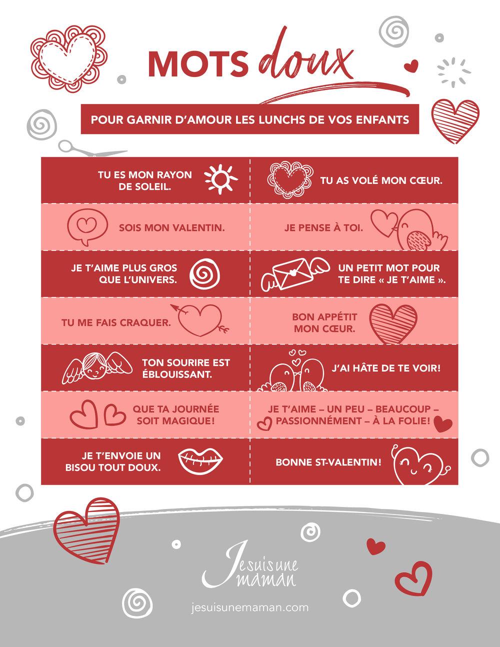 Mots doux pour la boite à lunch-StValentin-Saint Valentin-amour-célébrer l'amour-Février-souligner la SaintValentin-enfants-familles-valentins-mots d'amour-Je suis une maman