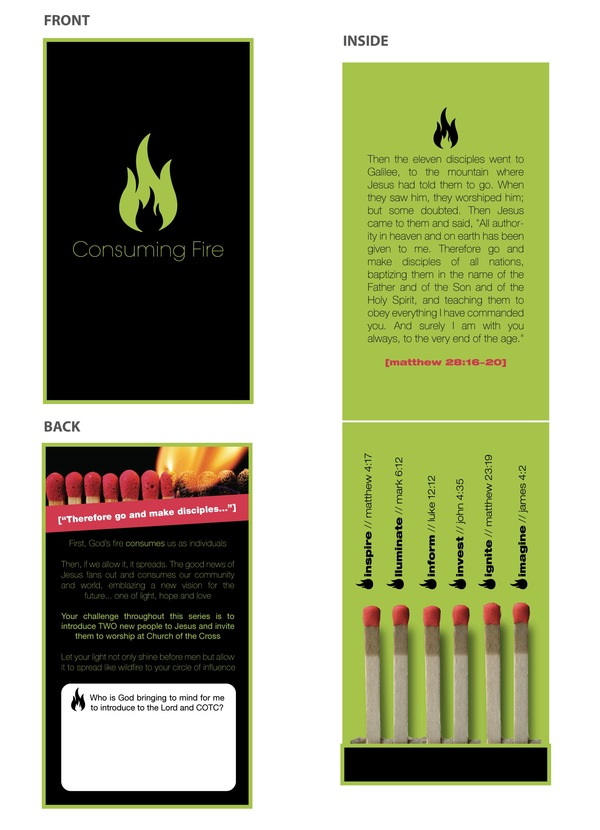 "The Church of the Cross | Bluffton, SC Four-panel business card ""matchbook"" concept"