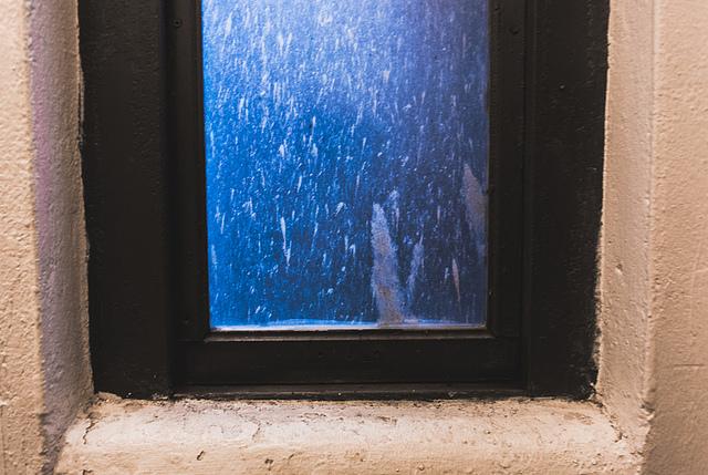 The bathroom window...