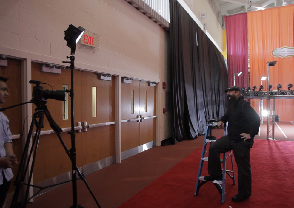 Interviewing Robert Latorre, creator of the Big Freeze for RIT SPAS. (Photo, frame grab from B-camera).