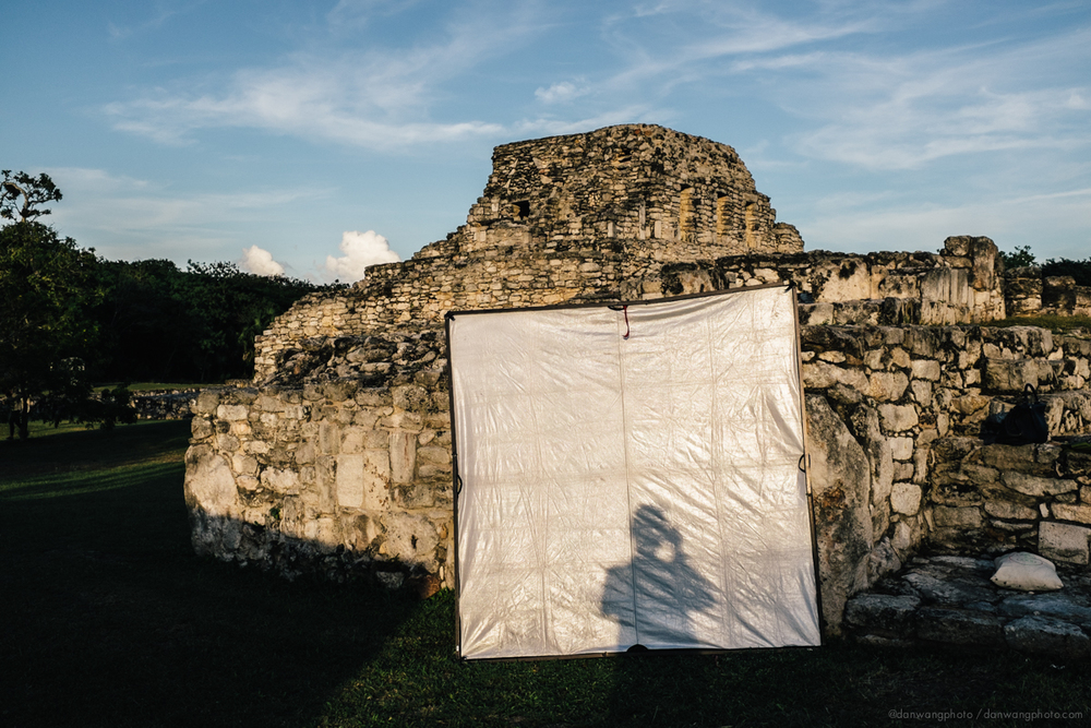 Silhouette in a silver/white scrim jim. Somewhere in a Mexican ruin.