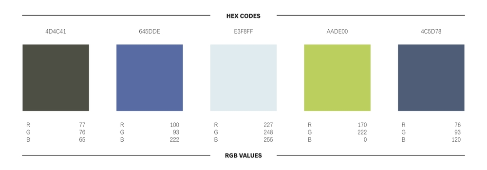 Color scheme with HEX codes and RGB values