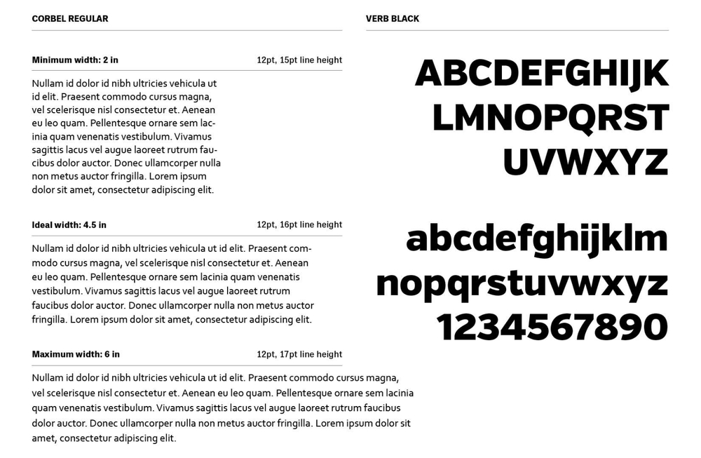 Typefaces and usage guide