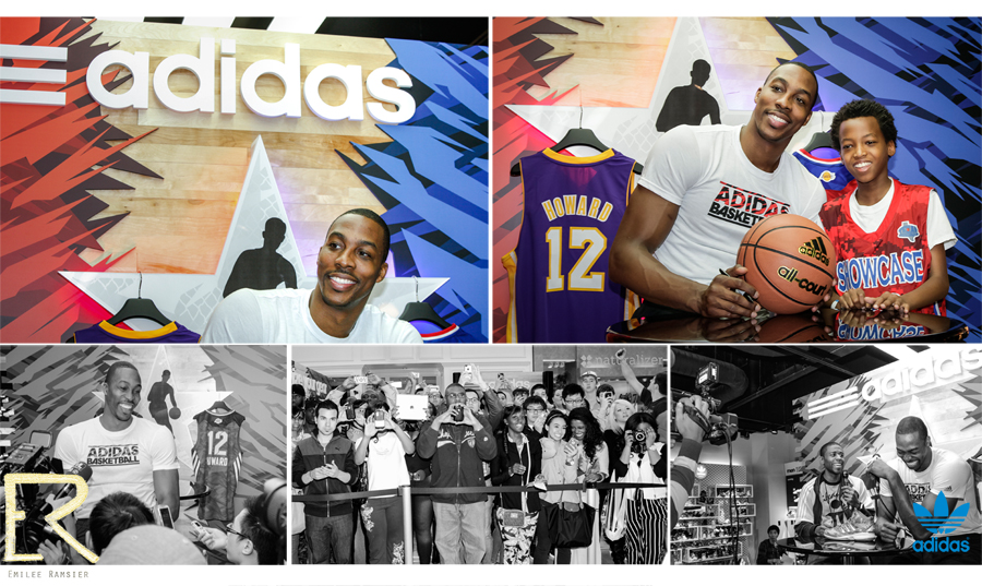 Dwight Howard (#12) of the Los Angeles Lakers photographed during an appearance at The Galleria mall's Adidas store during the 2013 NBA All-Star weekend in Houston, TX.