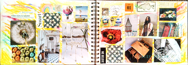 The background for this simple collaged journal page was scribbled with Neocolor IIs and painted with water for a dreamy look.