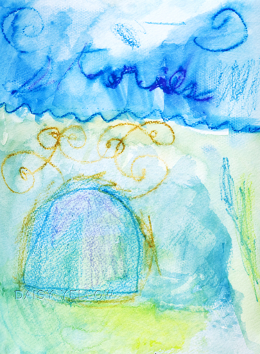 """stories,"" my younger daughter created this 9x12"" art journal page when she was 8.  watercolor paper, neocolors"