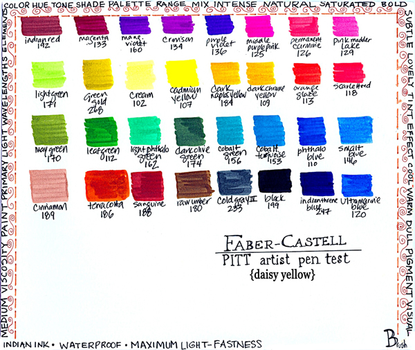 PITT Artist Pen brush nib marker color palette, Art by Tammy Garcia.