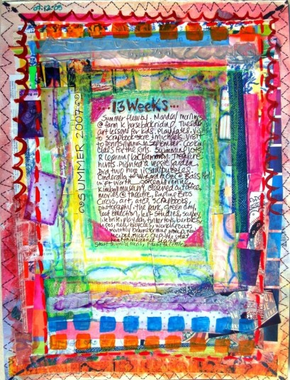 art journal page made with background of scrap cardstock