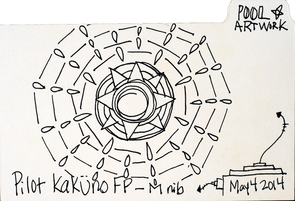 "Sketch #5: 3x5"" index card, Pilot Kaküno."
