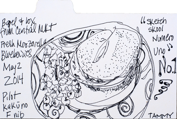 "Sketch #1b: 3x5"" index card, Pilot Kaküno. Sketched breakfast."