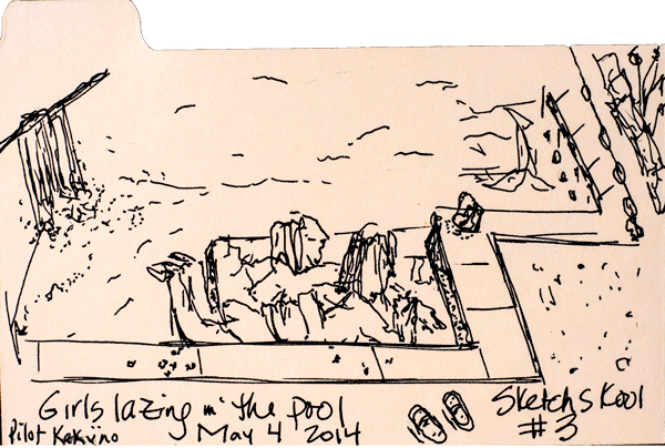 "Sketch #3: 3x5"" index card, Pilot Kaküno. Sketched the kids playing in the pool."