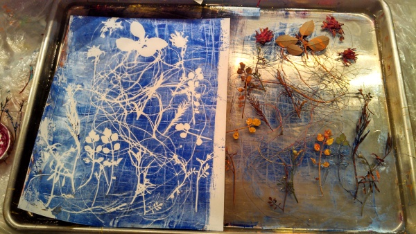 gelatin print, items from the garden.ART BY TAMMY GARCIA.