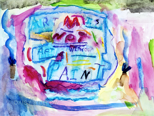 """without paint,"" my older daughter created this 9x12"" page when she was 9 watercolor paper, neocolors, watercolors"
