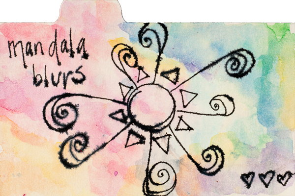 Watercolor-like background created by using a wet brush to grab color from the Neocolor II and apply to the page. Drew the mandala in india ink while the Neocolor was still wet.