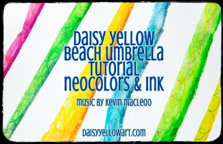 TUTORIAL: Beach Umbrella, doodles in Caran D'Ache Neocolors & ink
