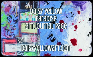 Paradise, a mixed media art journal page with fluid acrylics, a stencil and collage.
