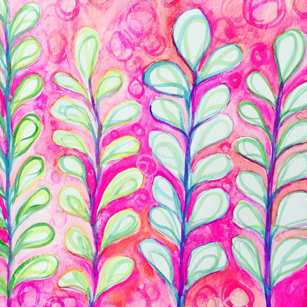 PAINTED green/yellow/blue LEAVES FIRST, THEN PINK BACKGROUND