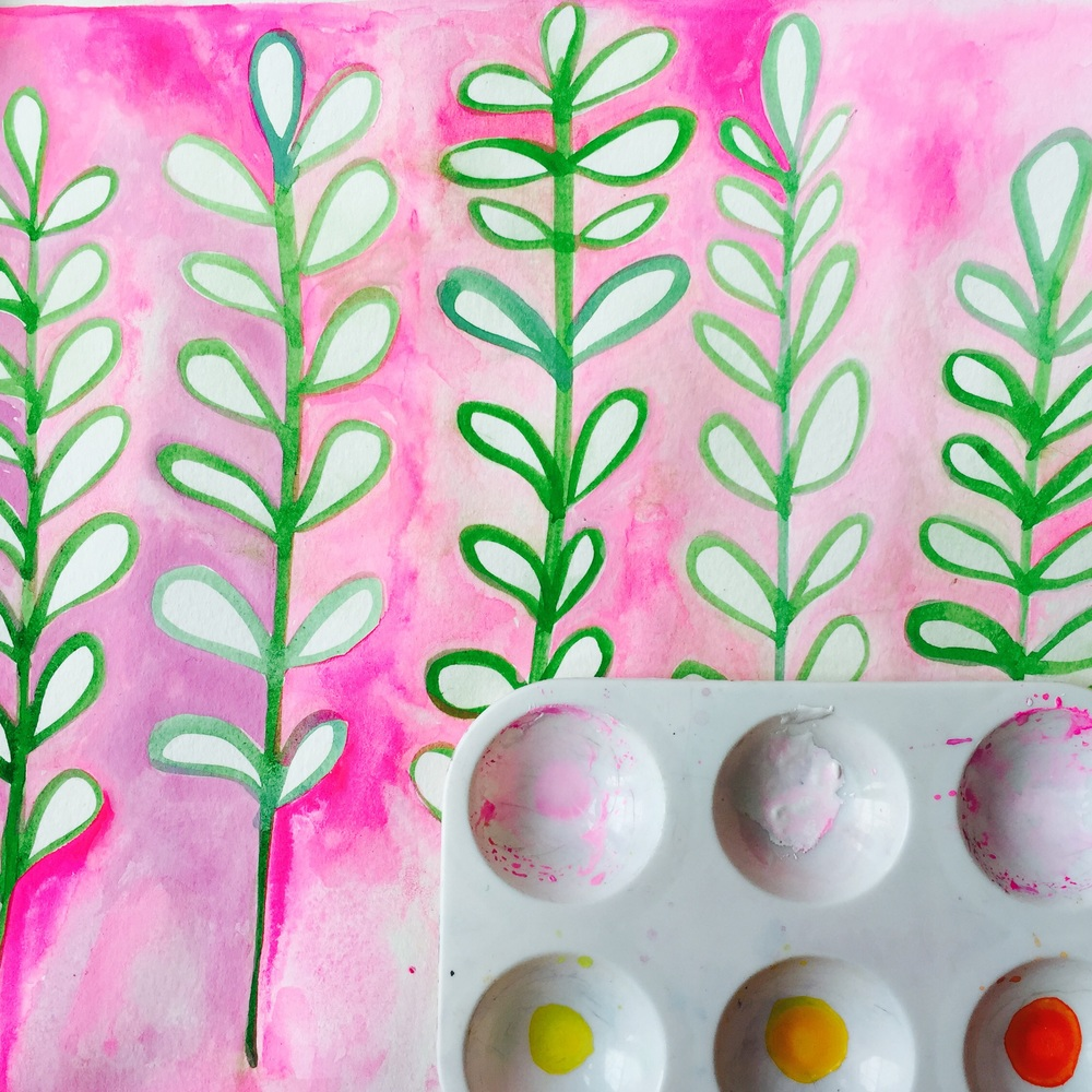 painted green leaves first with gouachethen the pink background