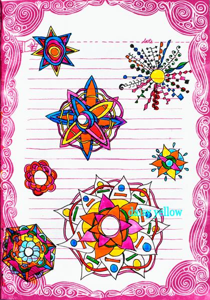 Mandala doodles in black Gelly Roll fine point and Sakura Glaze, artwork by Tammy Garcia.
