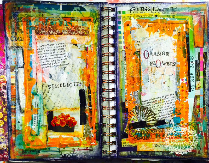 Altered book, collage & acrylics, 2008. About 1 year into art journaling.