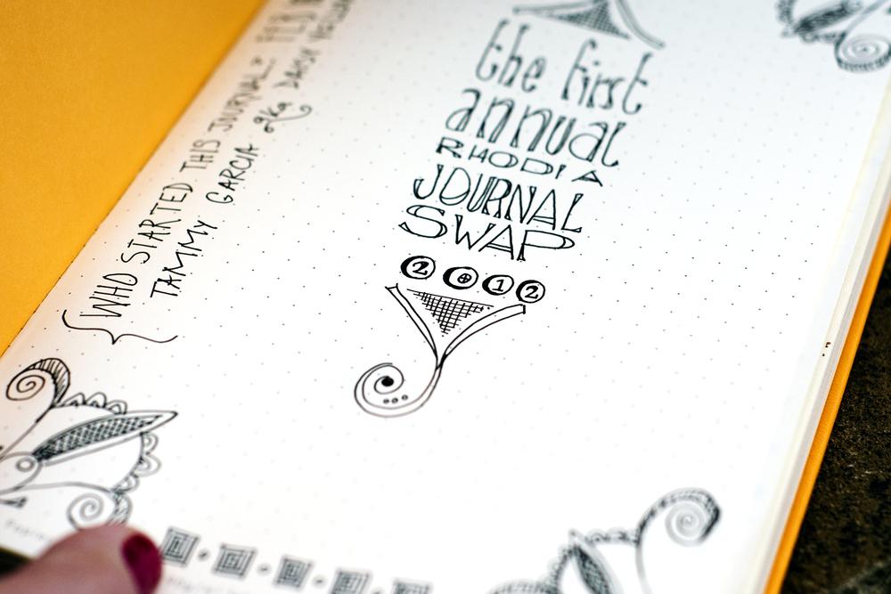 title page hand-lettering, Rhodia dot webbie journal, black gelly roll