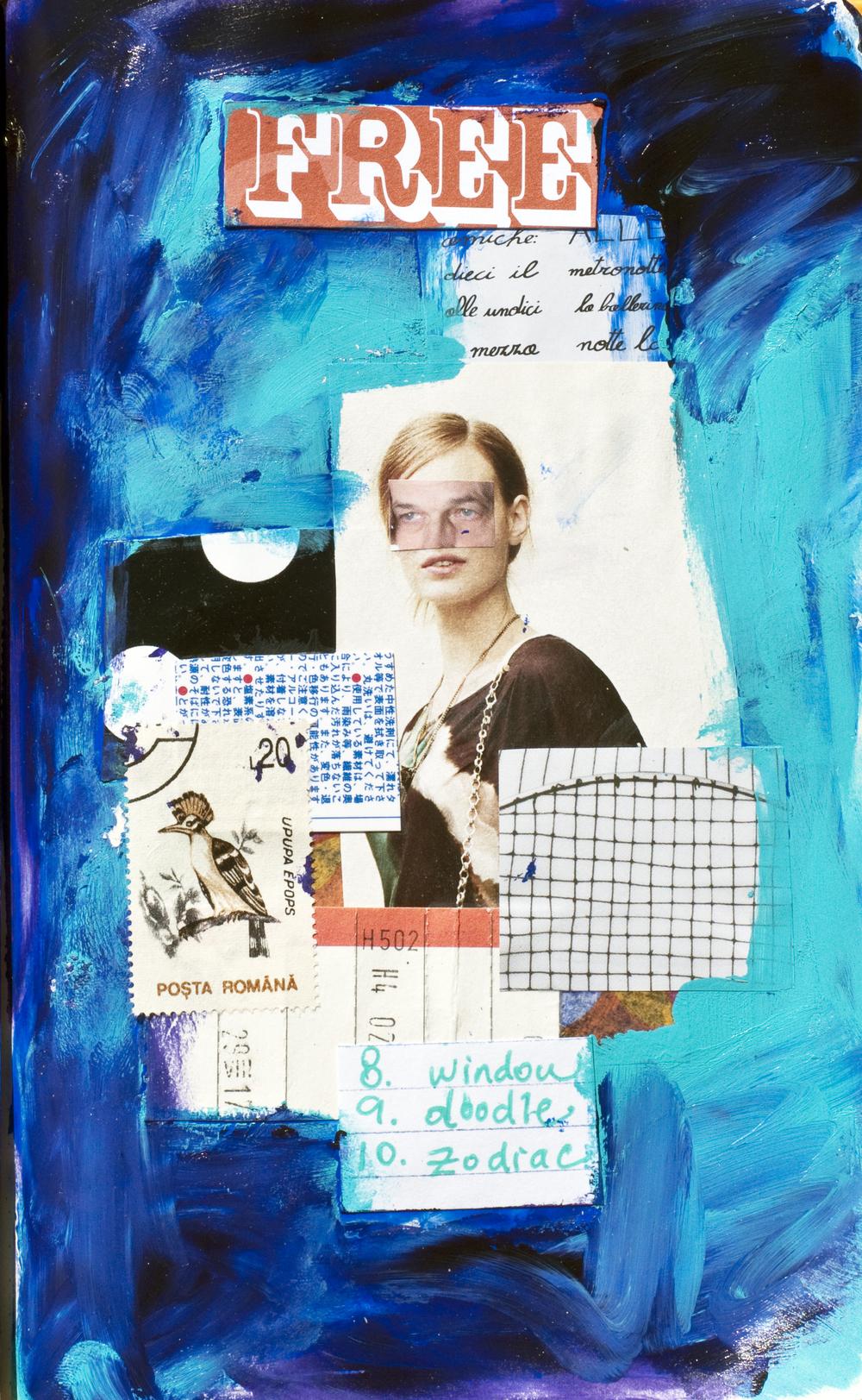 acrylics, collage