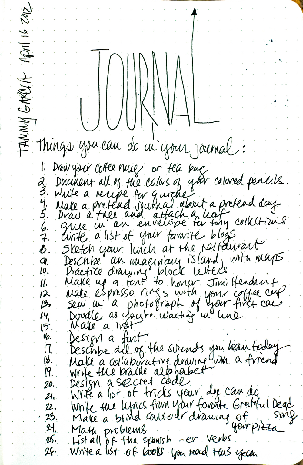 Twenty-six (26) things you can do in your journal. Rhodia dot webbie journal, black gelly roll pen.