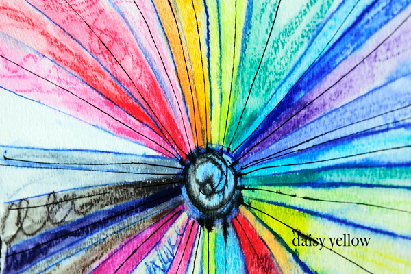 a rainbow mandala made with neocolor II wax crayons. video Tutorial here.