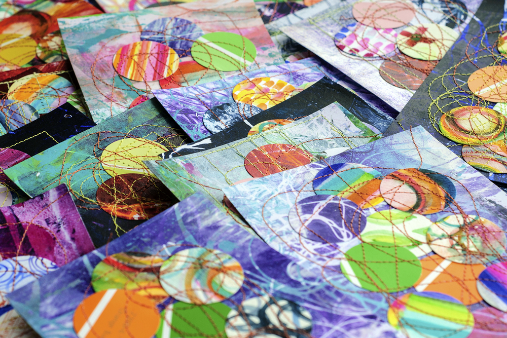 mail art collaged postcards with gelatin prints