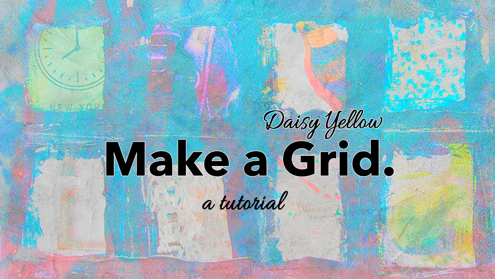 Tutorial: Make a grungy grid with acrylics + Collage on an index card.
