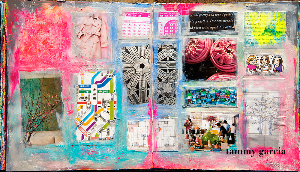 Art journal page in an altered book; artwork by Tammy Garcia.