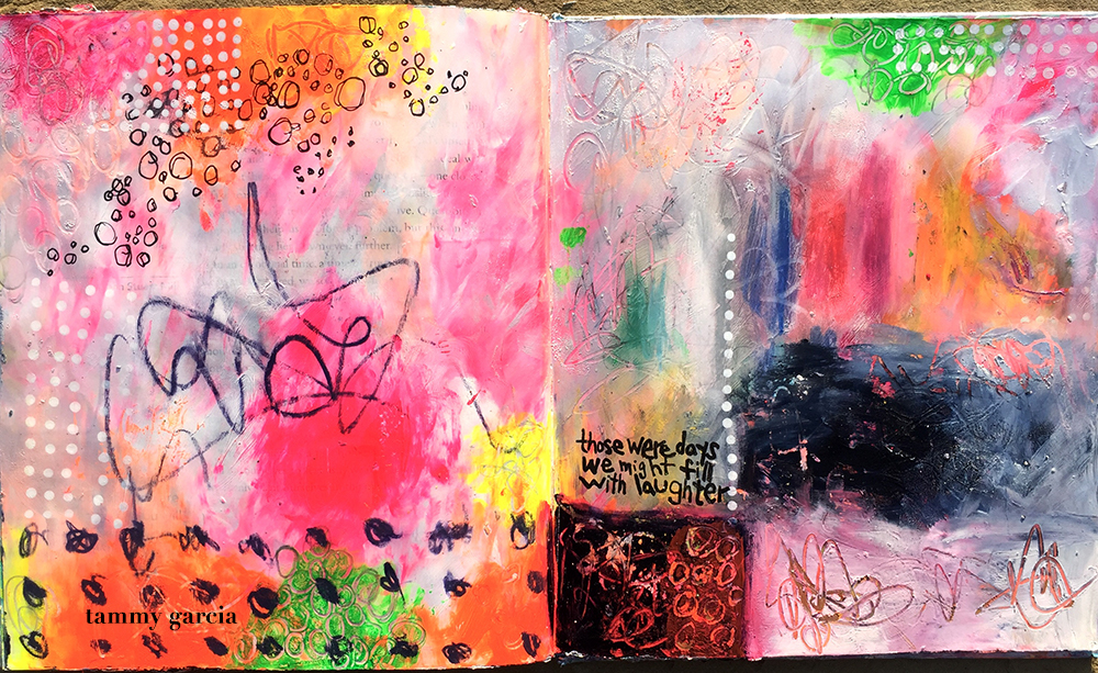 Art journal page in an altered book. Artwork by Tammy Garcia.