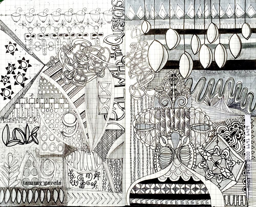 "5x8"" gridded Moleskine by Tammy Garcia https://daisyyellowart.com #sketchbook #moleskine #intuitiveart"