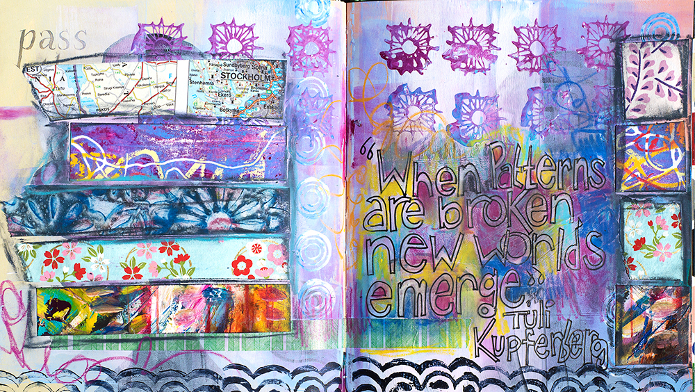 Purple Page tutorial, art journaling in an altered book with acrylics, neocolors, washi tape & hand-lettering. Artwork by Tammy Garcia.