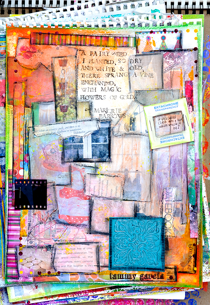 """9x12"""" Art Journal page on loose drawing paper, artwork by Tammy Garcia."""