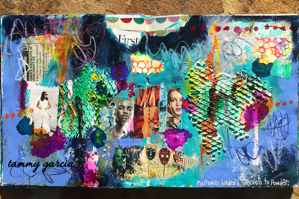 Mysteries Hidden, art journal page in an altered book in acrylics & collage; artwork by Tammy Garcia.