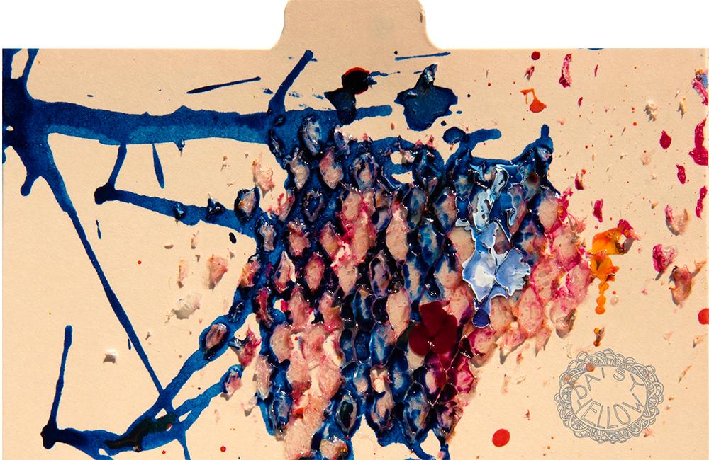 """3x5"""" index card, ink & gel medium, artwork by Tammy Garcia."""
