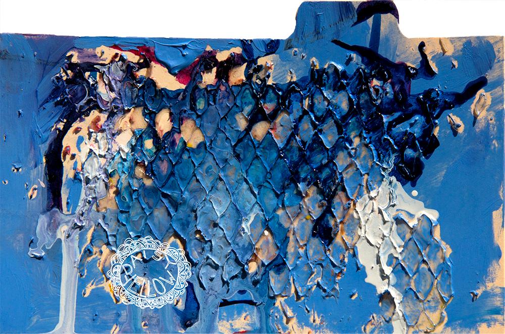 """3x5"""" index card, acrylics & ink & gel medium, artwork by Tammy Garcia."""