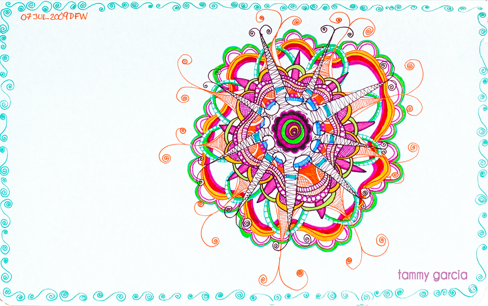 "5x8"" Moleskine drawing journal, Sakura microns, artwork by Tammy Garcia."