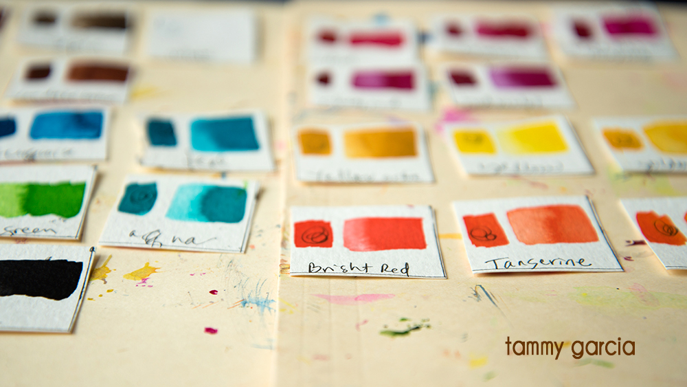Making color swatches for Dr. Ph. Martin Bombay inks.
