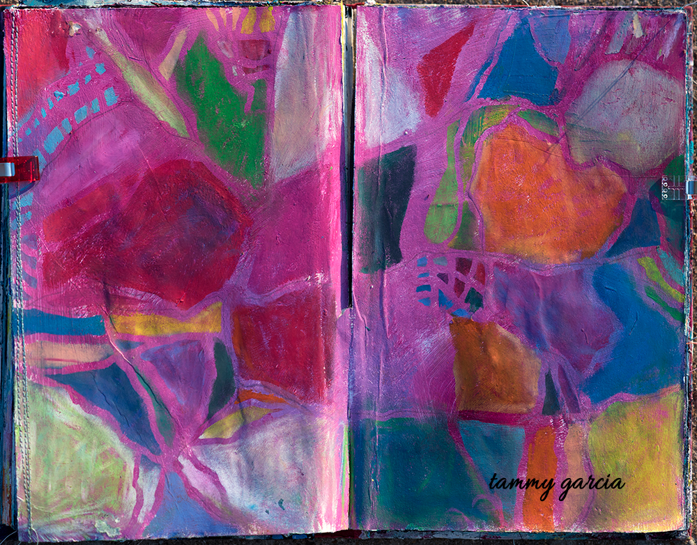 Art journal page, acrylics and neocolors, artwork by Tammy Garcia.