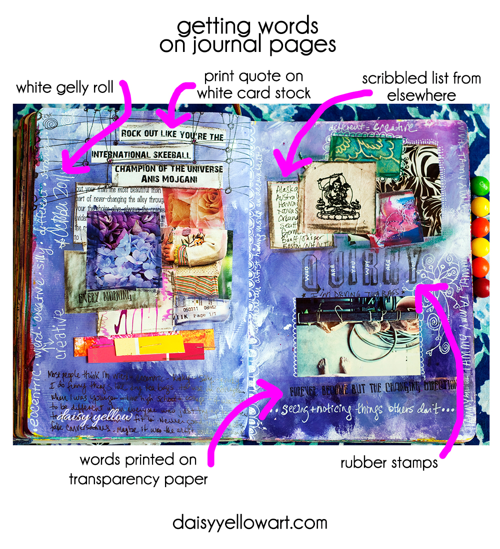 Getting words on art journal pages by Tammy Garcia https://daisyyellowart.com #artjournal