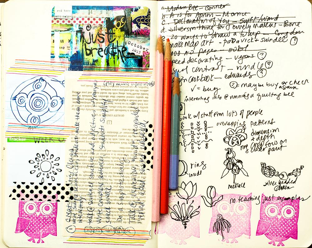 Art journal page by Tammy Garcia https://daisyyellowart.com #sketchbook #moleskine