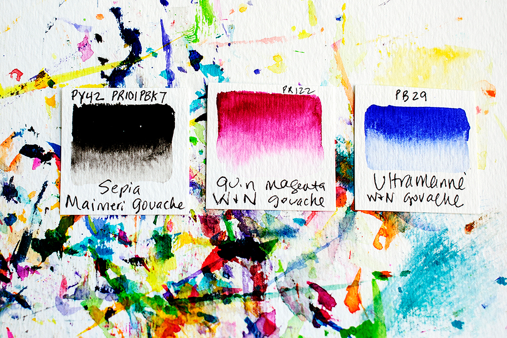 Gouache paint swatches on watercolor paper.