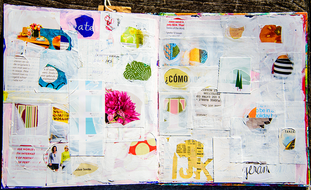 Art journal by Tammy Garcia, part of the Daisy Yellow Novel Approach Workshop. #workshop #artjournal