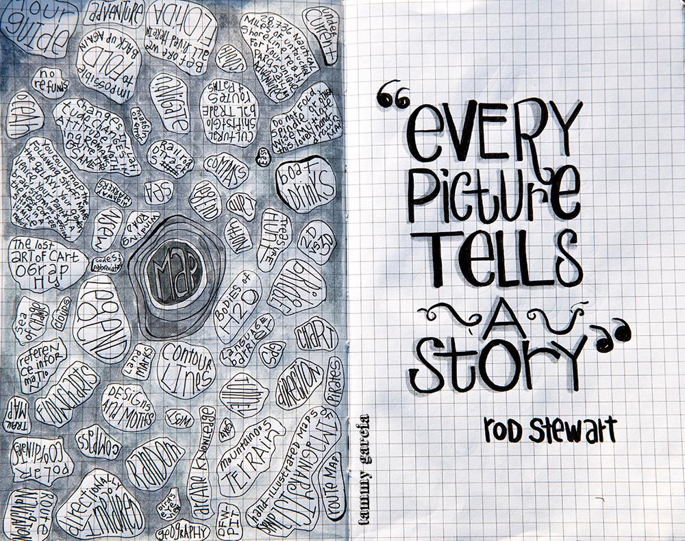 "5x8"" Moleskine Journal, PITT pen, Uni-Ball UM 153, PITT Big Brush Markers, Artwork by Tammy Garcia."